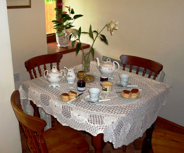 Cream tea in Wisteria Cottage at Exmoor Cottage Holidays in Exmoor, North Devon