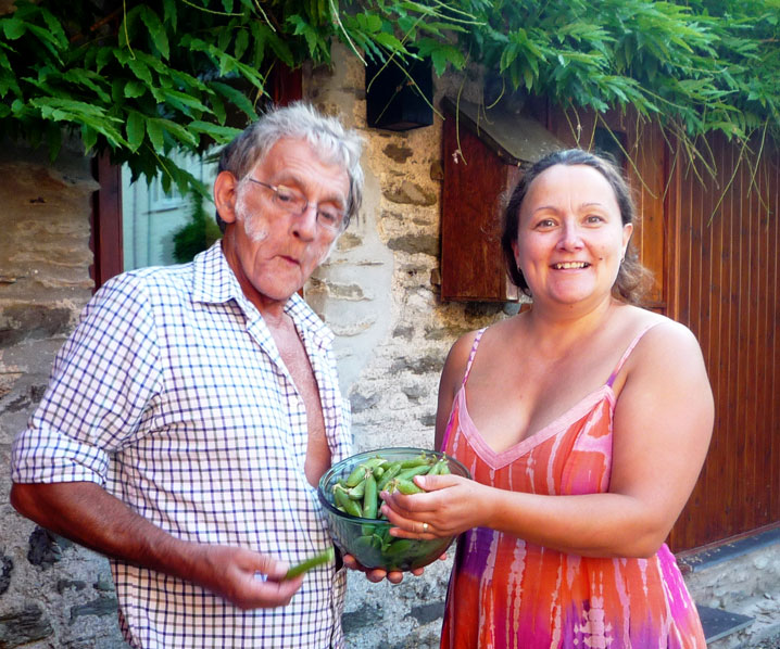 Melanie giving peas to a guest at Exmoor Cottage Holidays in Exmoor, North Devon