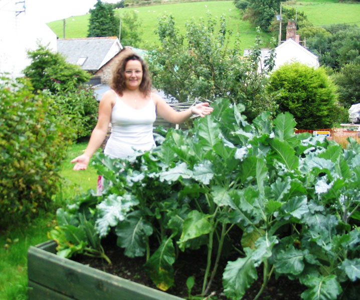 Melanie in the vegetable patch at Exmoor Cottage Holidays in Exmoor, North Devon